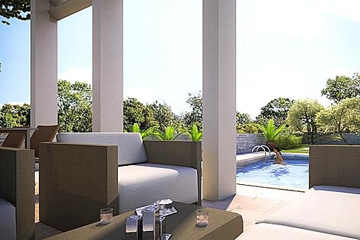 Blick von Terrasse zum Pool