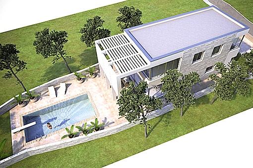 Vogelperspektive auf Pool, Terrasse und Garten